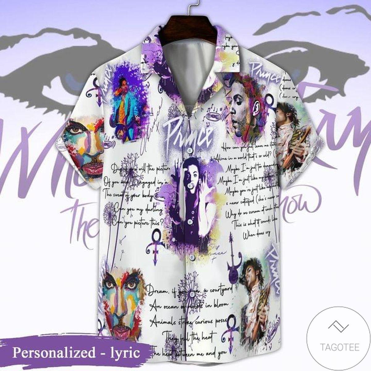 Personalized Prince Lyrics Pattern Hawaiian Shirt