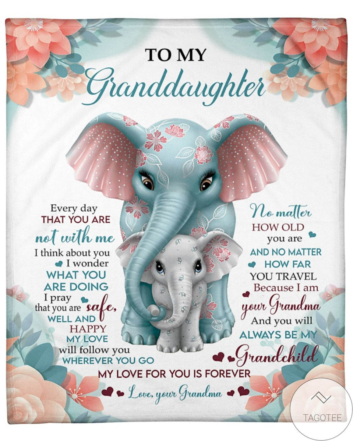 To My Granddaughter My Love For You Is Forever Elephants Blanket